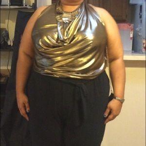 Plus Size Gold Lame and Black jumpsuit